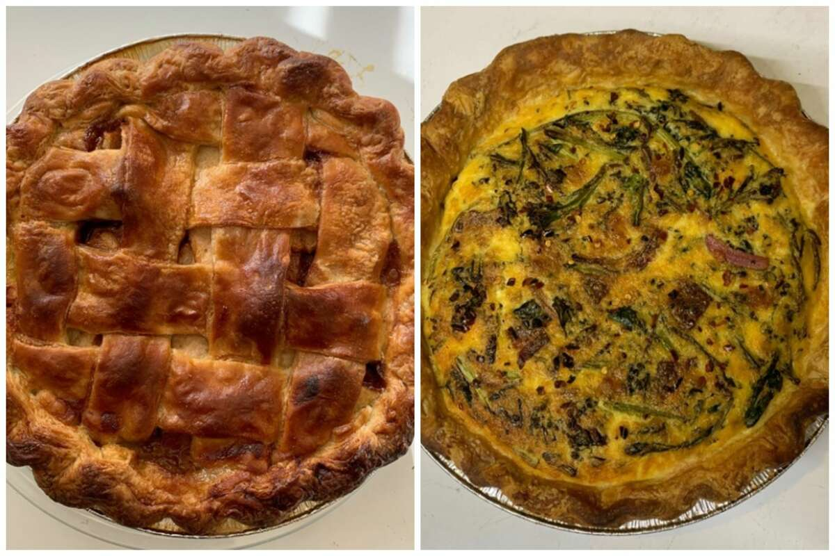 Asian pear and salted caramel pie and broccolini and cheddar quiche from Edith's Pie