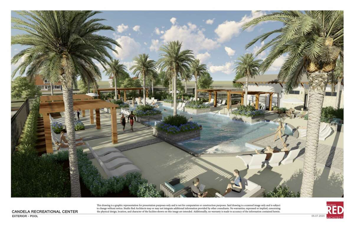 The Axis Amenity Center in Candela will have meeting space, a courtyard with fire pit, a fitness center, resort pool, a yoga lawn and a splash pad.