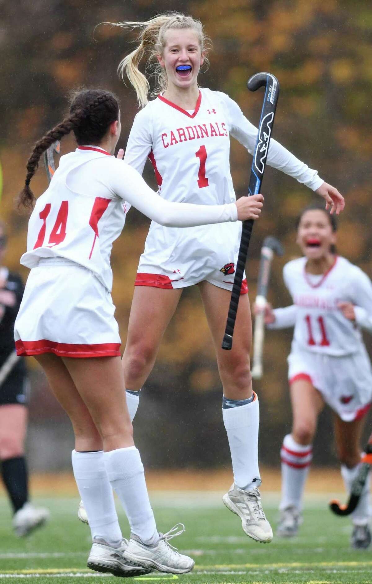 Greenwich's Zita Cohen (1) celebrates after scoring the first goal in Greenwich's 6-0 win over Stamford in the FCIAC West championship game at Greenwich High School in Greenwich, Conn. Thursday, Nov. 12, 2020.
