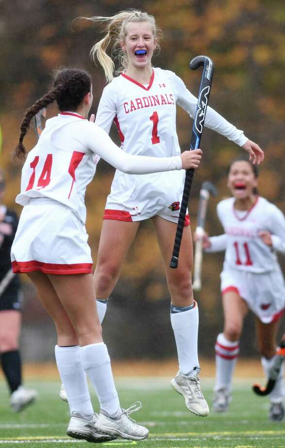 Greenwich's Zita Cohen (1) celebrates after scoring the first goal in Greenwich's 6-0 win over Stamford in the FCIAC West championship game at Greenwich High School in Greenwich, Conn. Thursday, Nov. 12, 2020. Photo: Tyler Sizemore / Hearst Connecticut Media / Greenwich Time