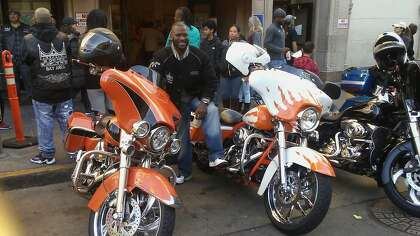 The Kings of Cali fleet at rest in front of Glide Church in S.F. on Thanksgiving Day.