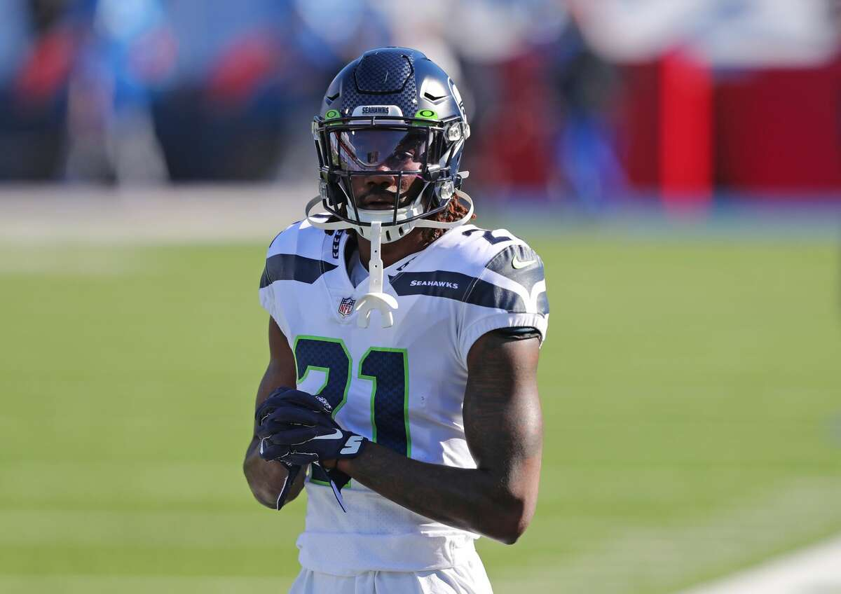 ORCHARD PARK, NY - NOVEMBER 08: Tre Flowers #21 of the Seattle Seahawks before a game against the Buffalo Bills at Bills Stadium on November 8, 2020 in Orchard Park, New York. (Photo by Timothy T Ludwig/Getty Images)