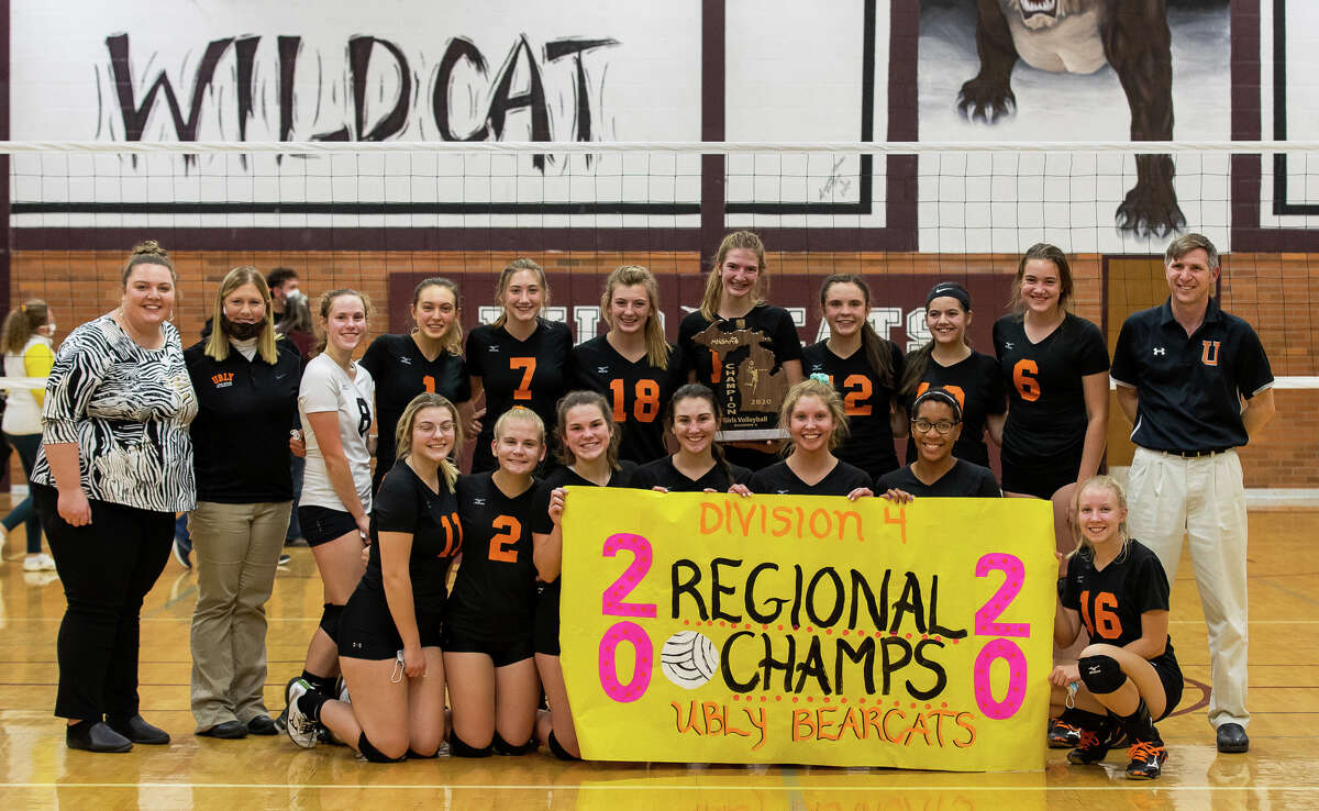 The Ubly varsity volleyball team captured its second straight regional championship on Thursday night with a sweep of Dryden at Mayville High School. The Bearcats won, 26-24, 25-17, 25-19.