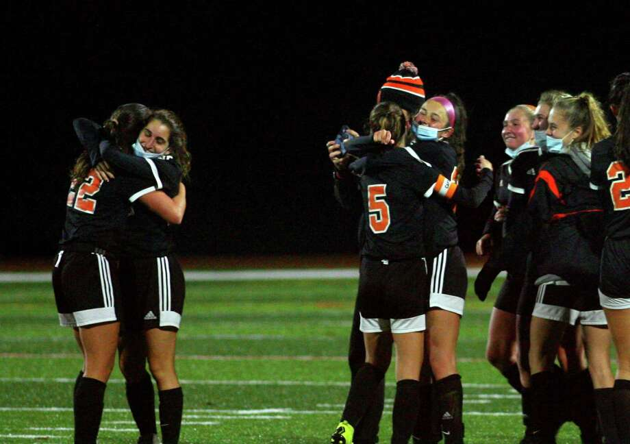 Shelton celebrates its win over Foran in SCC girls soccer playoff action in Shelton, Conn., on Thursday Nov. 12, 2020. Photo: Christian Abraham / Hearst Connecticut Media / Connecticut Post