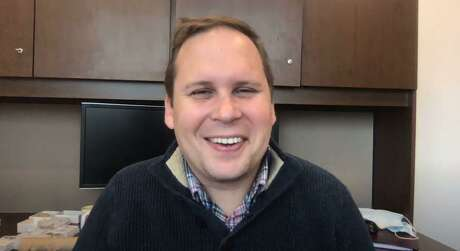 Coronavirus researcher Ben Neuman, in his office at Texas A&M-Texarkan