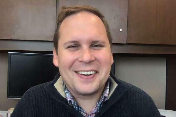 Coronavirus researcher Ben Neuman, in his office at Texas A&M-Texarkana.