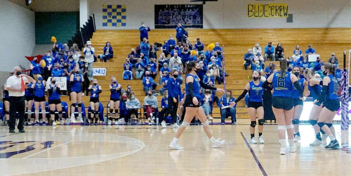 The Morley Stanwood volleyball team fell in four sets to Calvin in the Regional Championship match on Thursday night at Shelby High School.