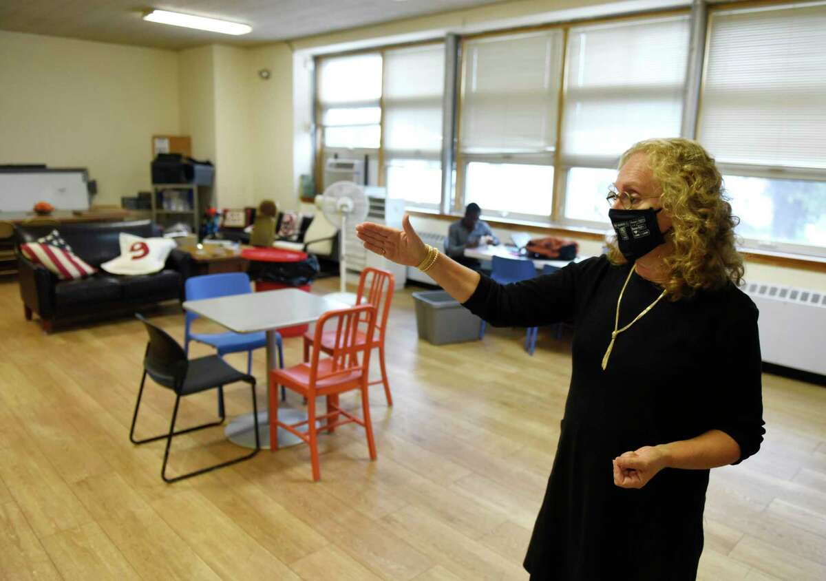 CCI Executive Director Gaby Rattner shows off the new headquarters for Community Centers Inc. of Greenwich in the Chickahominy section of Greenwich, Conn. Thursday, Oct. 29, 2020.