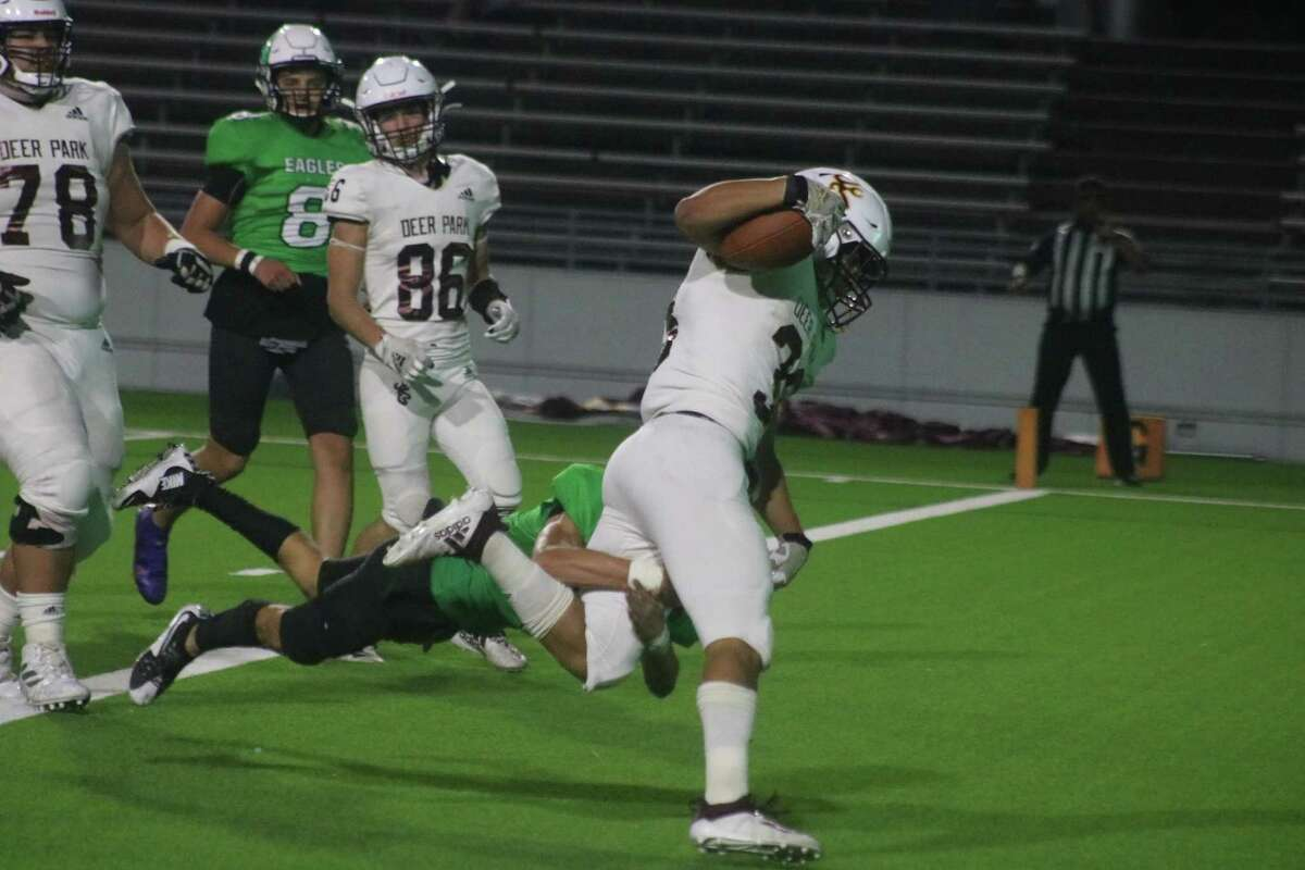 Erasmo Canales finishes off a 19-yard run to the end zone during first-half play Thursday night. Canales rushed for 107 yards.