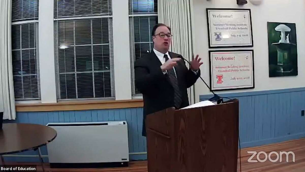 Assistant Superintendent Jonathan Budd speaks to the Trumbull Board of Education during its Nov. 10 meeting.
