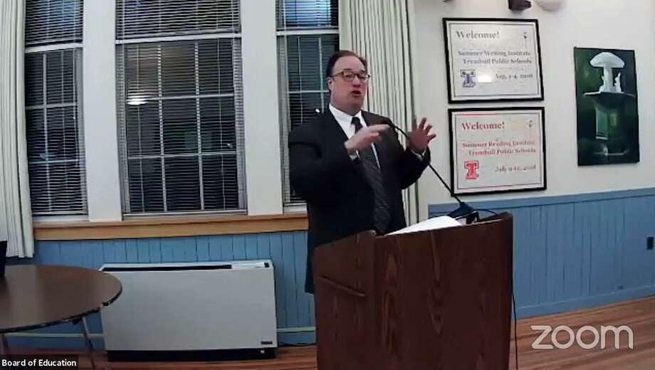 Assistant Superintendent Jonathan Budd speaks to the Trumbull Board of Education during its Nov. 10 meeting. Photo: Zoom Screen Capture