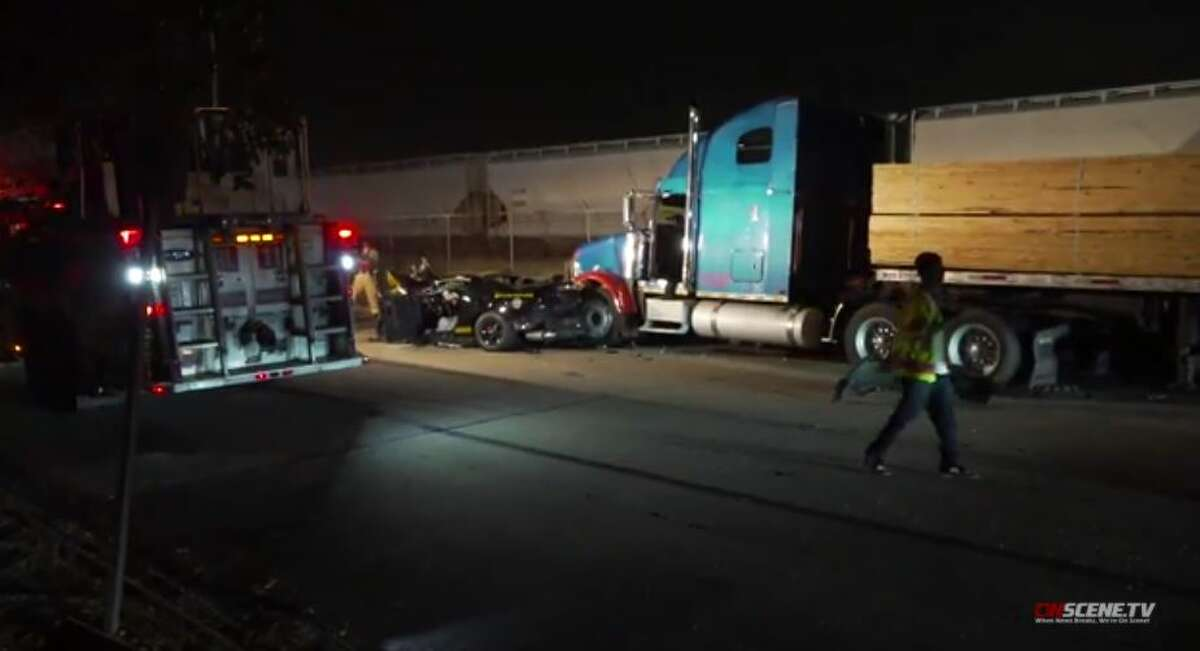 Two people were injured in a crash after authorities said they were drag racing in northwest Houston on Friday, Nov. 13, 2020.
