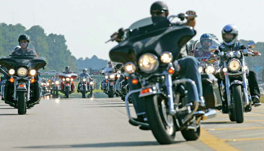 Around 200 motorcyclists rolled into the North Montgomery County Community Center in Willis in this May 2017 file photo. Montgomery County law enforcement wants drivers to be careful around motorcyclists following multiple biker fatalities in 2020. Photo: Eric S. Swist, Photographer / Staff Photo By Eric S. Swist / Staff photo by Eric S. Swist
