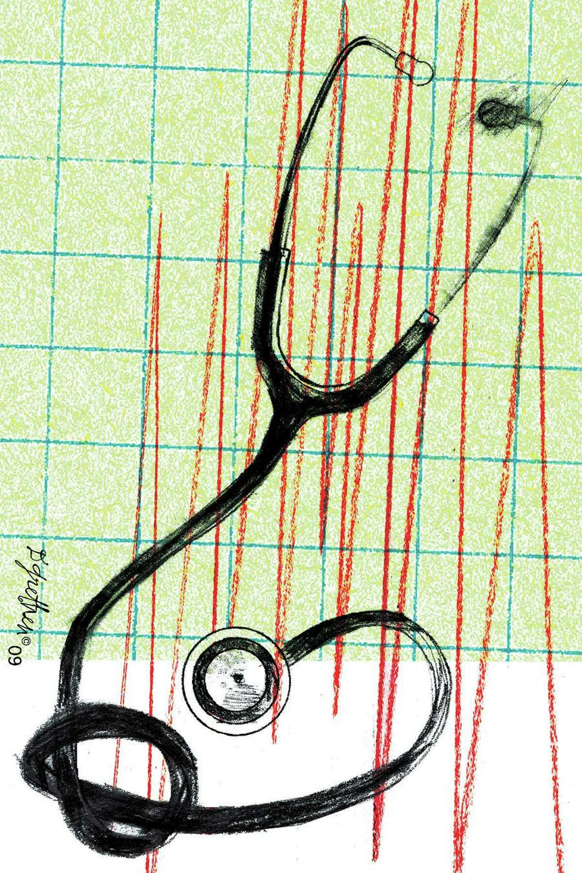This artwork by Donna Grethen relates to health-care reform.