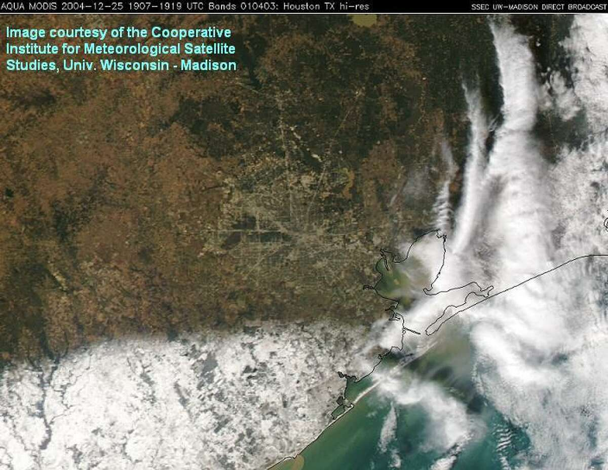 It snowed so much near Houston on Dec. 24, 2004, that you could see the white stuff from space.
