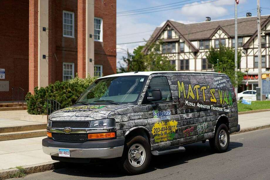 """Bridges' Mobile Addiction Treatment Team Van, dubbed MATT's Van, assists individuals with opiate use disorder """"on the street"""" in West Haven and Milford, making access to treatment easier and quicker. Photo: Bridges /"""