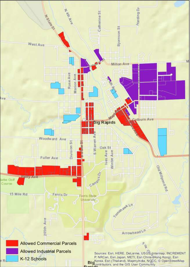 """This graphic, available in the city of Big Rapids' marijuana ordinance, shows a """"marijuana businesses allowed parcels map."""" After receiving complaints and concerns, Big Rapids city commissioners discussed potentially reevaluating the city's marijuana ordinance. Photo: Map Courtesy Of City Of Big Rapids"""