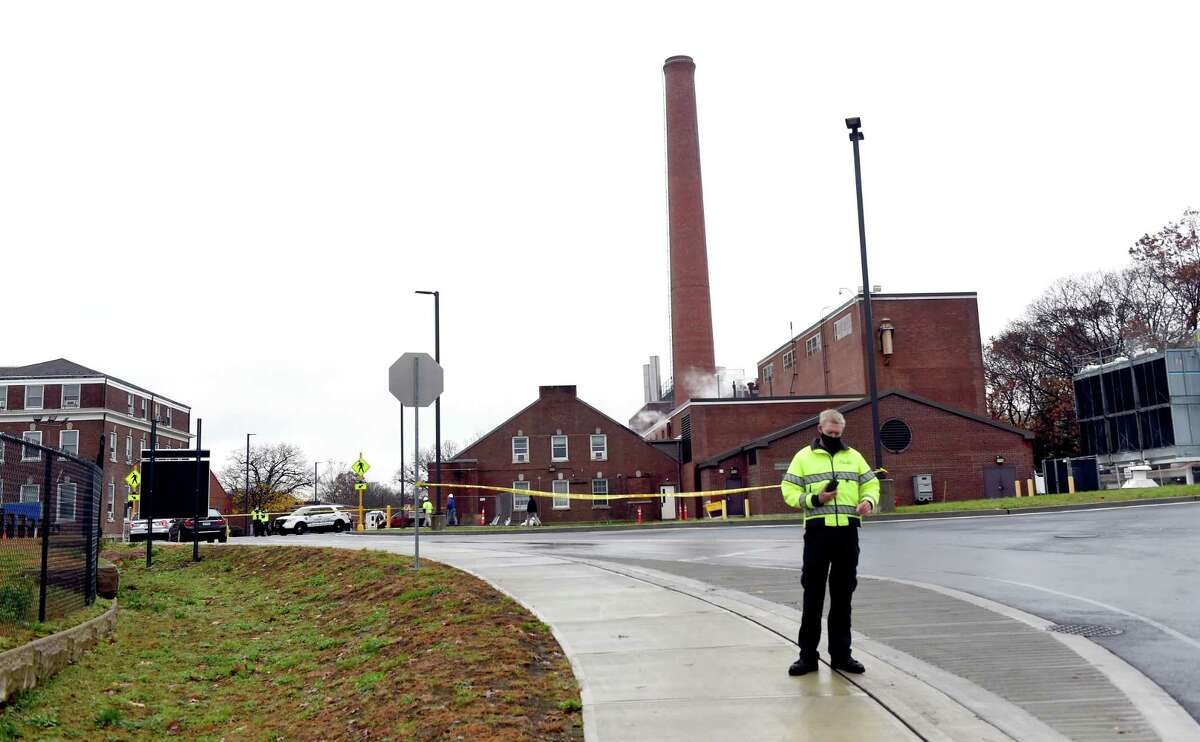 The scene outside of the boiler plant at the Veterans Affairs medical center campus in West Haven following an explosion Nov. 13, 2020.