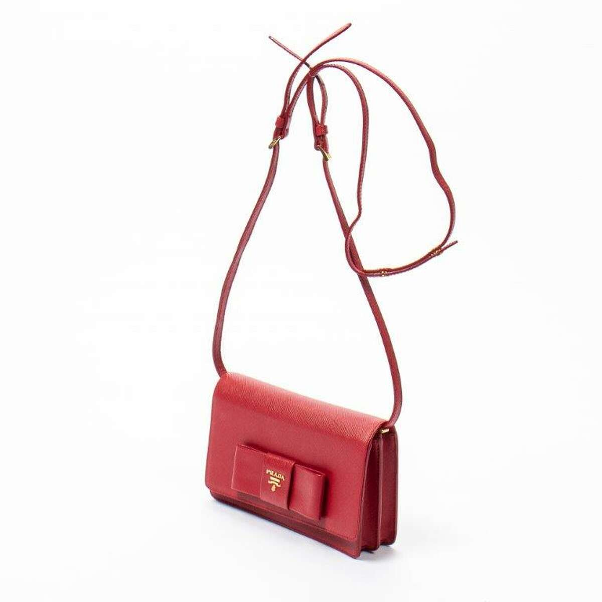 This red Prada handbag will be included in the Dec. 5 luxury goods auction at Gallery Auctions.