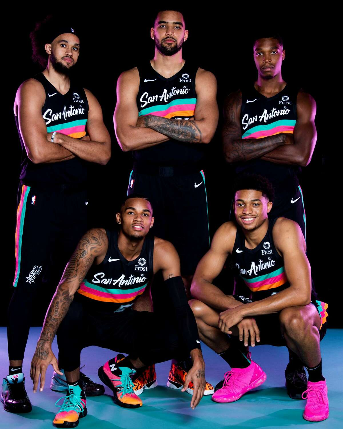 The Nike City Edition alternate uniforms for the Spurs dropped Friday with much fanfare. The fan base has spent the last few years asking the team for the old school aqua, orange and pink aesthetic. Nike delivered with a look that is similar to the team's game warmups from the 1989-90 season to 1996-97 season.
