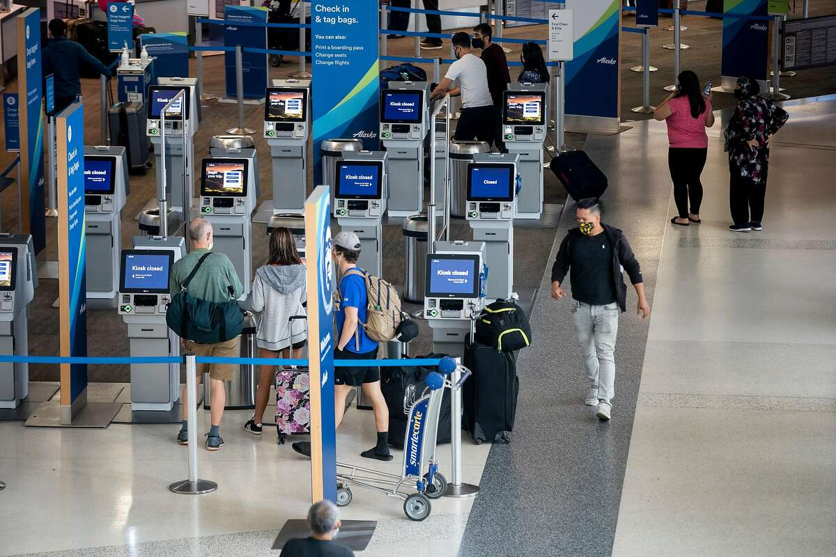 The domestic terminal and check-in area at San Francisco International Airport on Tuesday, Sept. 1, 2020.