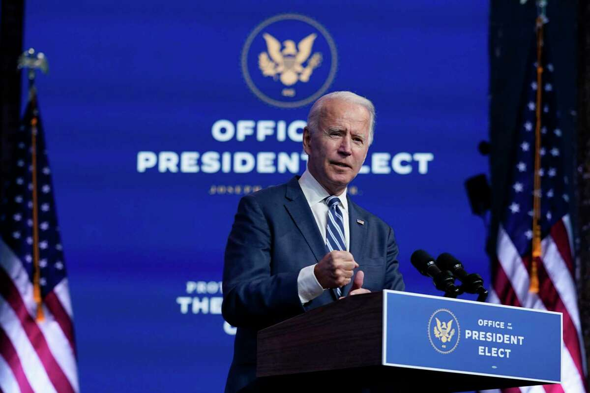 President-elect Joe Biden speaks at The Queen theater, Tuesday, Nov. 10, 2020, in Wilmington, Del. Offshore oil companies are buying up leases in the U.S. Gulf of Mexico as they face likely new regulations under the incoming Biden presidency.