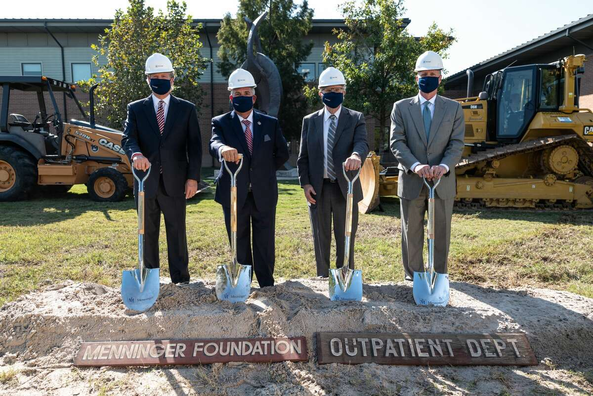 On Thursday, November 12, the Menninger Clinic broke ground on a 33,000 square foot Outpatient Services Center set to open in Spring 2022. From left, Ronny Cuenod, Jr., board chair of The Menninger Clinic, Armando Colombo, president and CEO of The Menninger Clinic, Kansas Supreme Court Judge Eric Rosen and Jeff Paine, board chair of The Menninger Clinic Foundation, turned over the first shovelfuls of dirt to mark the ceremonial start of the $11.4 million construction project.
