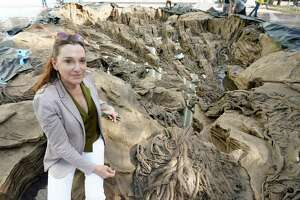 """Spanish sculptor Cristina Iglesias is shown with the nearly complete permanent art titled """" Inner Landscape (the lithosphere, the roots, the water),"""" she created outside the MFAH's new Kinder Building Wednesday, Nov. 11, 2020 in Houston."""