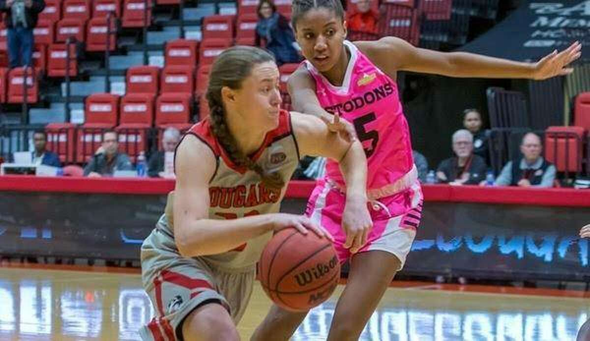 SIUE forward Allie Troeckler drives to the basketball during a game last season.
