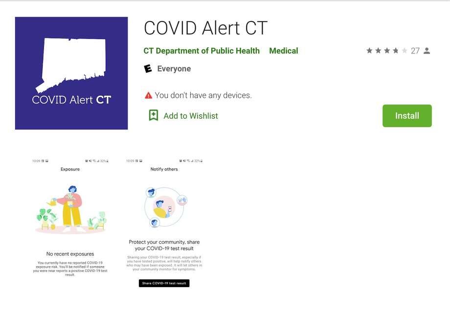The Exposure Notifications app on Google Play. Photo: Screenshot