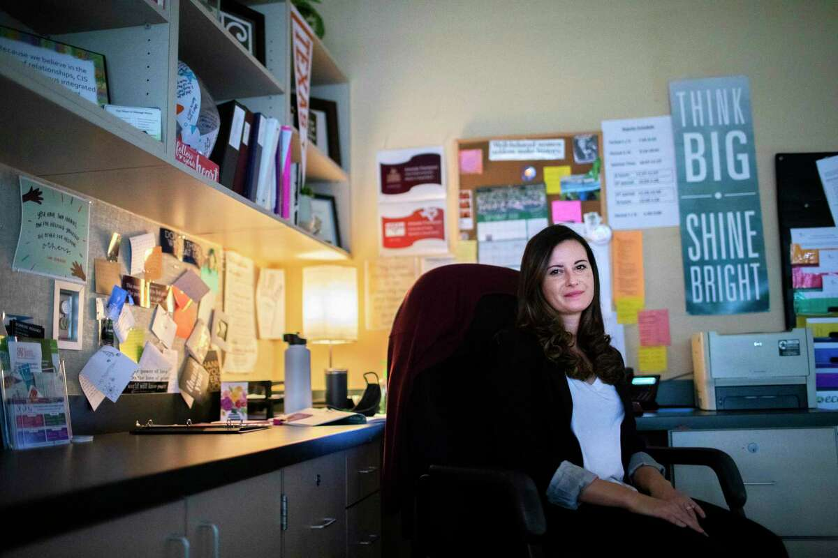 Stratford High School student support specialist Amanda Thompson, 30, at her office Monday, Sept. 21, 2020, in Spring Branch.