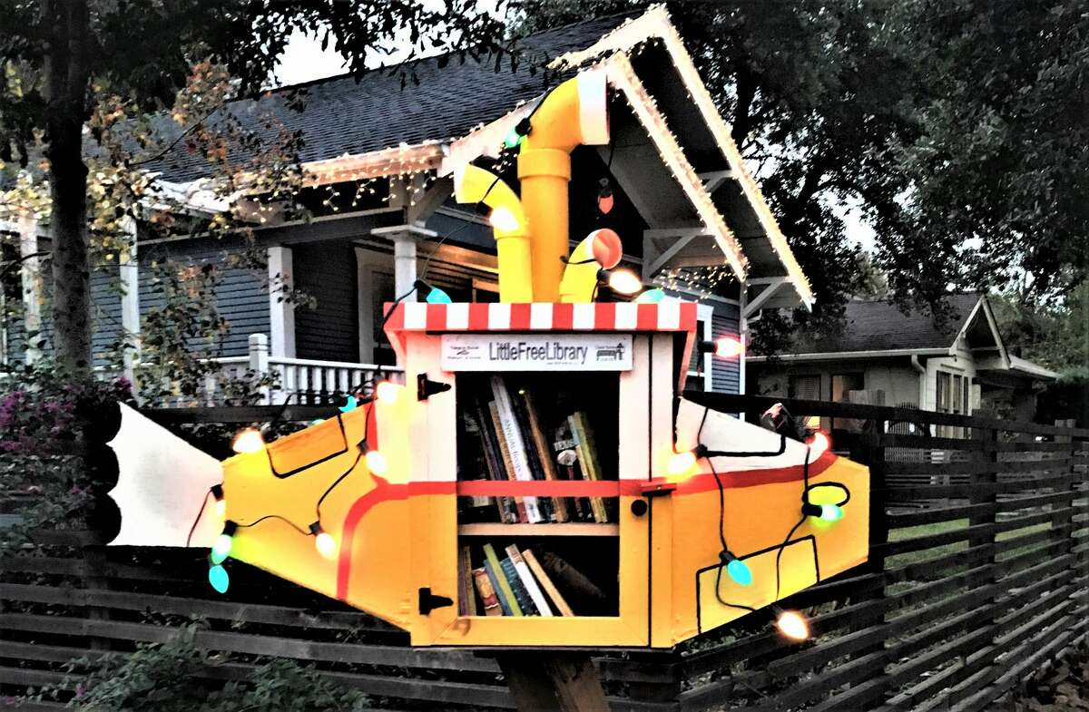Katheryne Ellison's Little Free Library is made to resemble a yellow submarine.