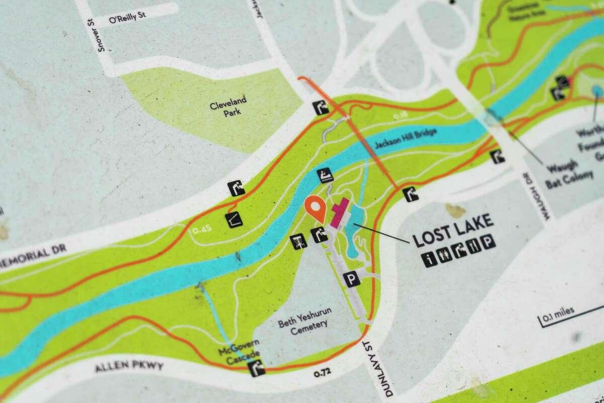 A maps shows bayou access sites at Lost Lake along the Buffalo Bayou, Friday, Nov. 6, 2020, in Houston.