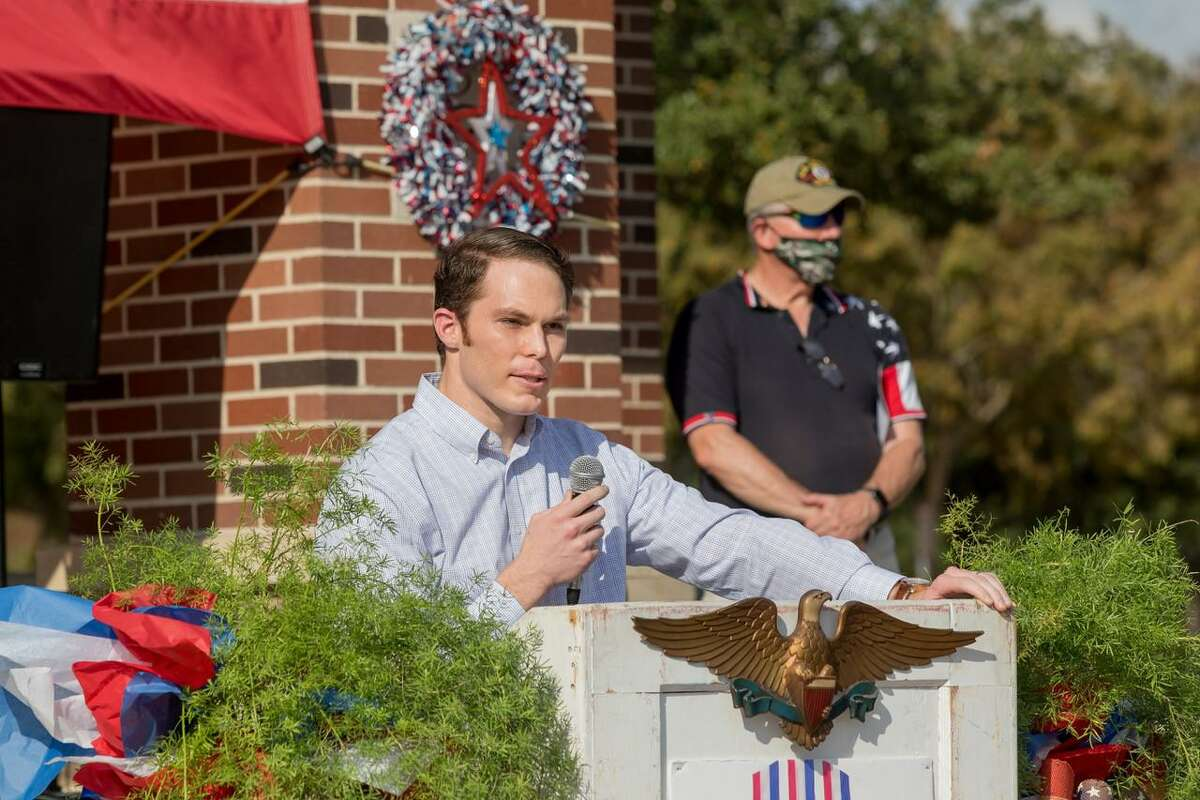 Bridgeland resident Capt. Daniel Hinkson spoke at the annual Veterans Day Celebration at Festival Park on Sunday, Nov. 8, 2020. Hinkson gave thanks to God for returning home 'whole' as he remembered his comrades, those who remain and those killed in action.