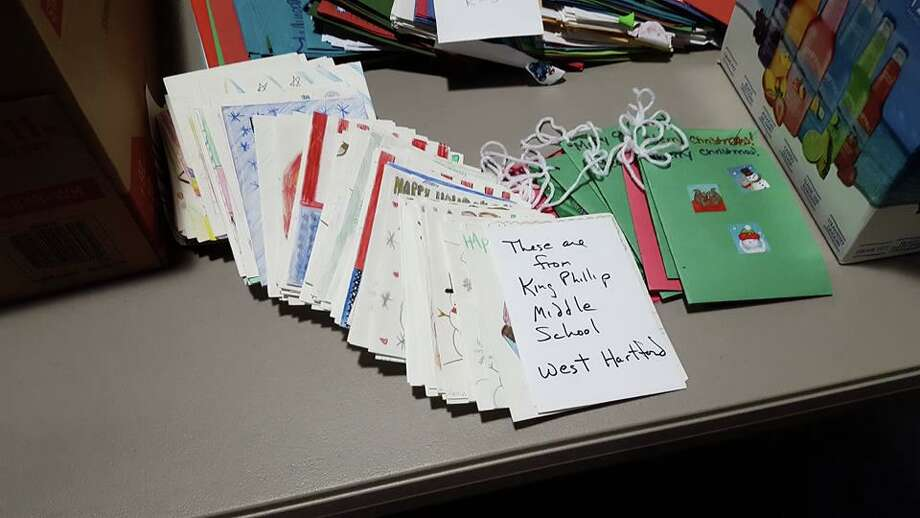Cards from a previous Stockings for Soldiers drive held by the SoHu New Haven neighborhood association. Photo: Lisa Siedlarz / For Hearst Connecticut Media / Contributed