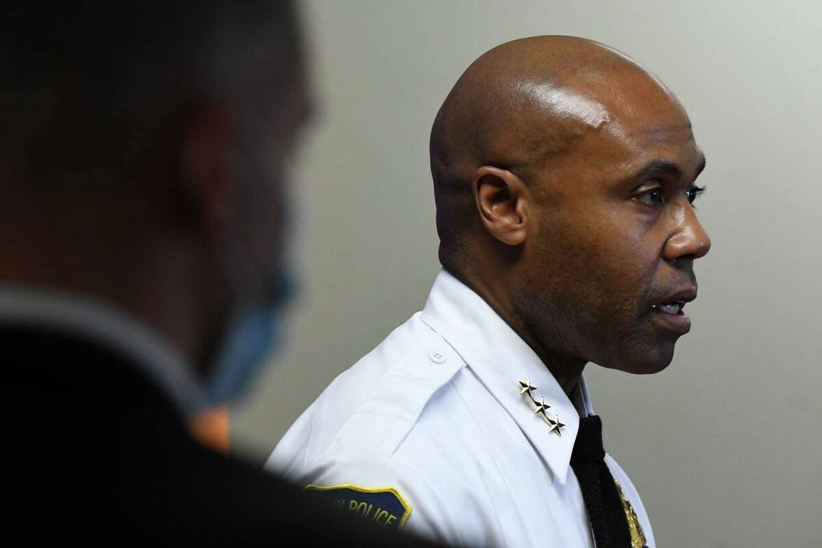 Albany Police Chief Eric Hawkins addresses the department's suspension of officer David W. Haupt during a press conference on Friday, Nov. 13, 2020, at police headquarters in Albany, N.Y. Haupt, who joined the force in 2016, was suspended for 30 days on Wednesday while the department investigates body camera footage where Haupt is heard making racists remarks. (Will Waldron/Times Union)