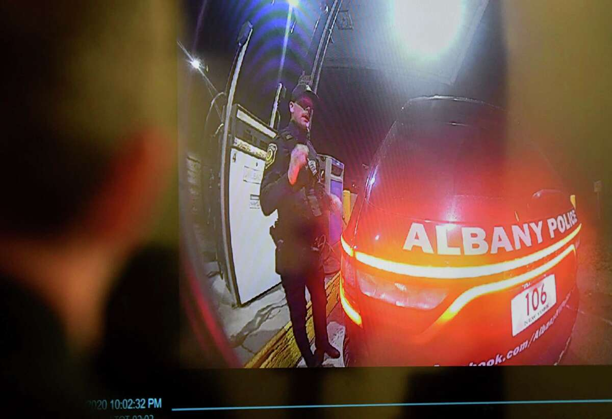 Albany Police officer David W. Haupt is recorded on an Albany County sheriff deputy?•s body camera on Nov. 1, 2020. The footage was shown during a press conference on Friday, Nov. 13, 2020, at police headquarters in Albany, N.Y. Haupt, who joined the force in 2016, was suspended for 30 days on Wednesday while the department investigates body camera footage where Haupt is heard making racists remarks. (Will Waldron/Times Union)