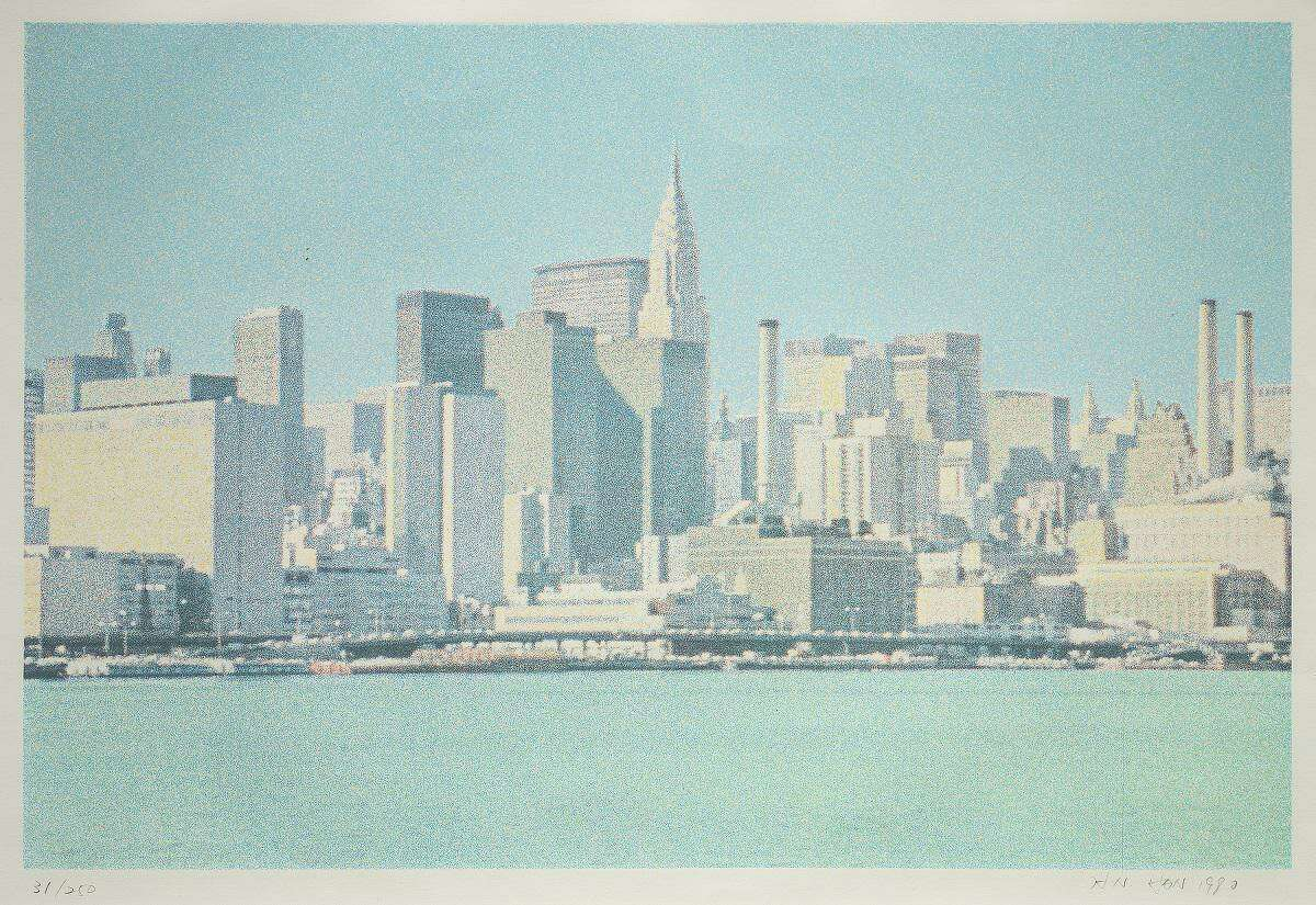 """""""New York Skyline"""" was created in 1980 by H.N. Han. Screen-print on Somerset white satin paper."""