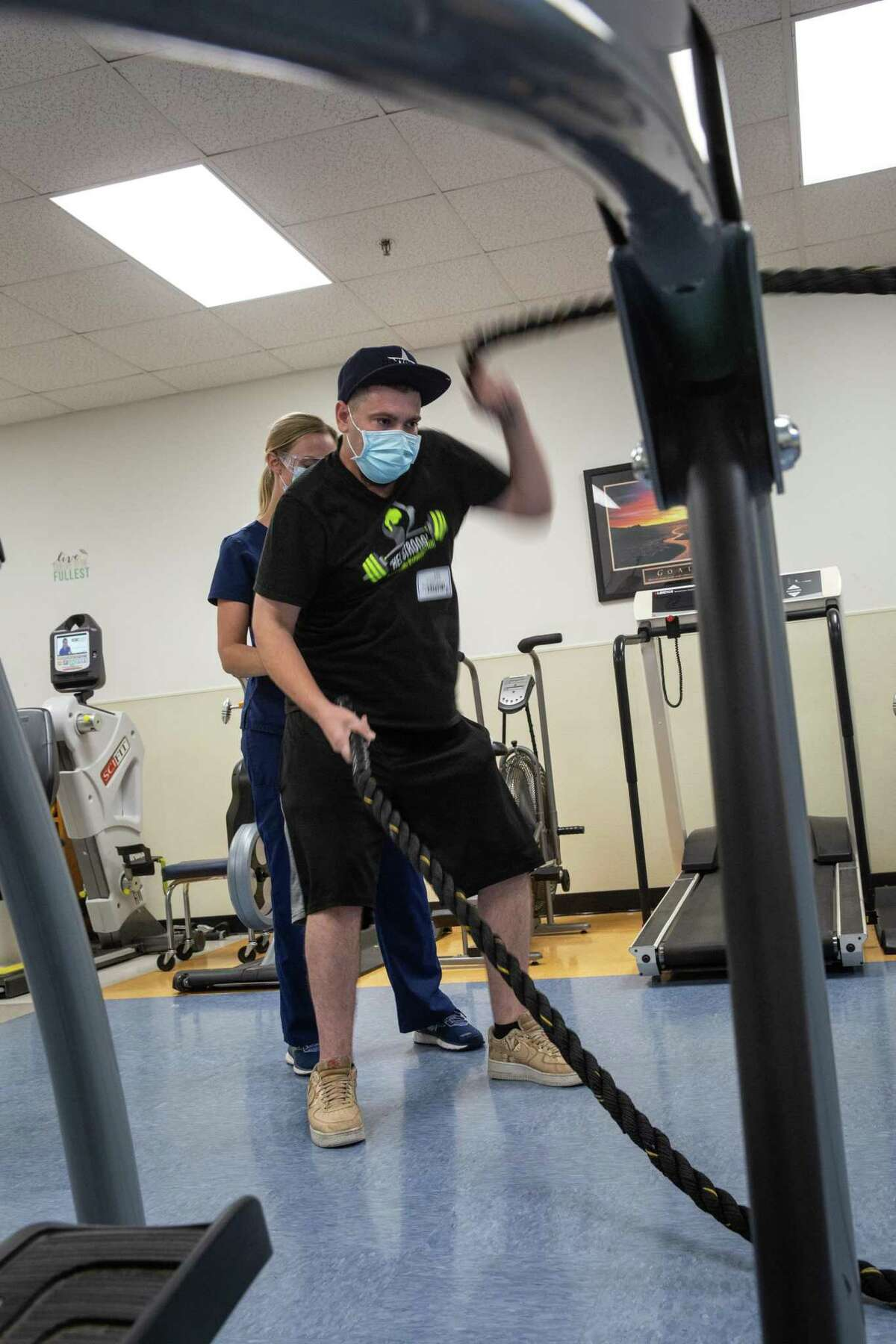 Jonathan Bomar, 31, attends his weekly physical therapy at TIRR Memorial Hermann Outpatient Rehabilitation - Kirby Glen in Houston, TX on Oct. 13, 2020.