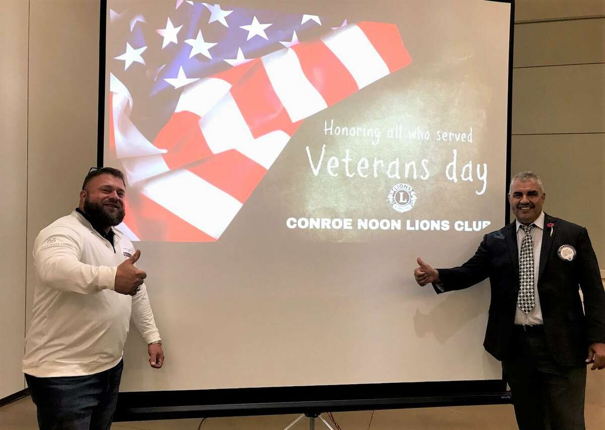 The Conroe Noon Lions Club was honored to have Sam Askins(l) the Texas Director for the PTSD Foundation of American, at their club luncheon this week who gave a moving talk on Veteran's Day. Pictured (r) Club President Ralph Perez.