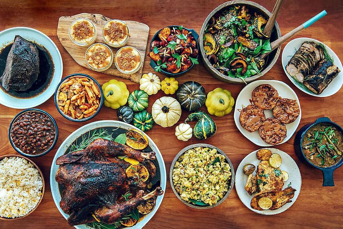 Dishes from Bayview Bistro's holiday food box include Jamaican jerk turkey, roasted Japanese yams andcornbread stuffing.