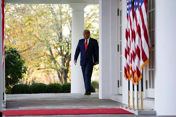 President Donald Trump arrives to speak in the Rose Garden of the White House, Friday, Nov. 13, 2020, in Washington. (AP Photo/Evan Vucci)