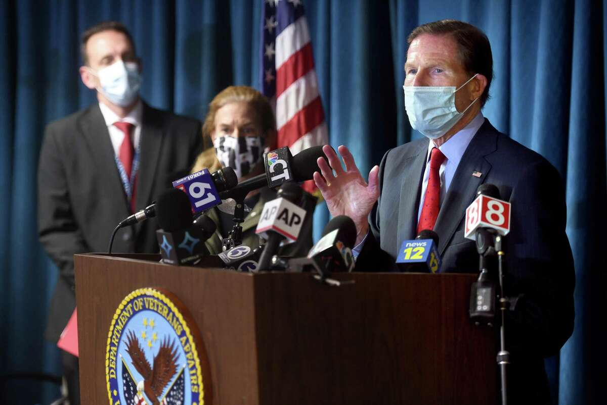 U.S. Senator Richard Blumenthal (right) speaks at a press conference following an explosion at the boiler plant at the West Haven VA Hospital that took two lives on November 13, 2020.