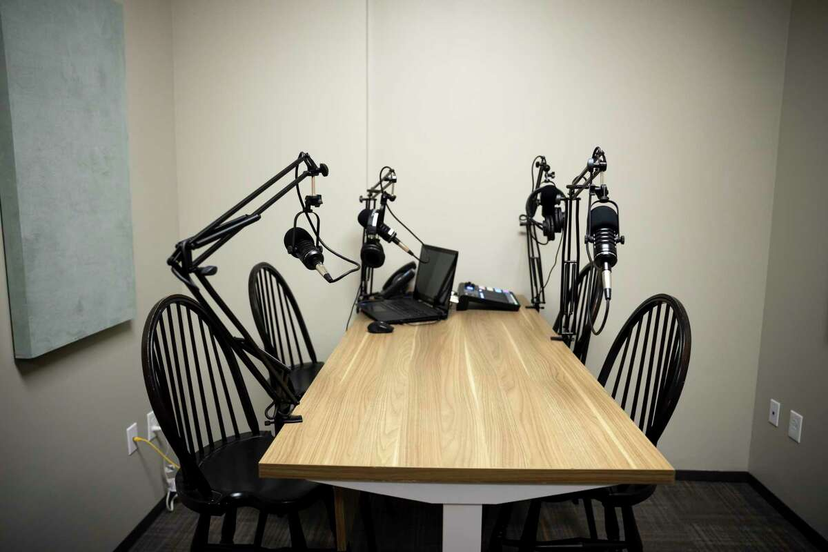 Pictured is a photo of a podcast room. The Ridgefield Historical Society, and the Aldrich Contemporary Art Museum in Ridgefield have each released a podcast.