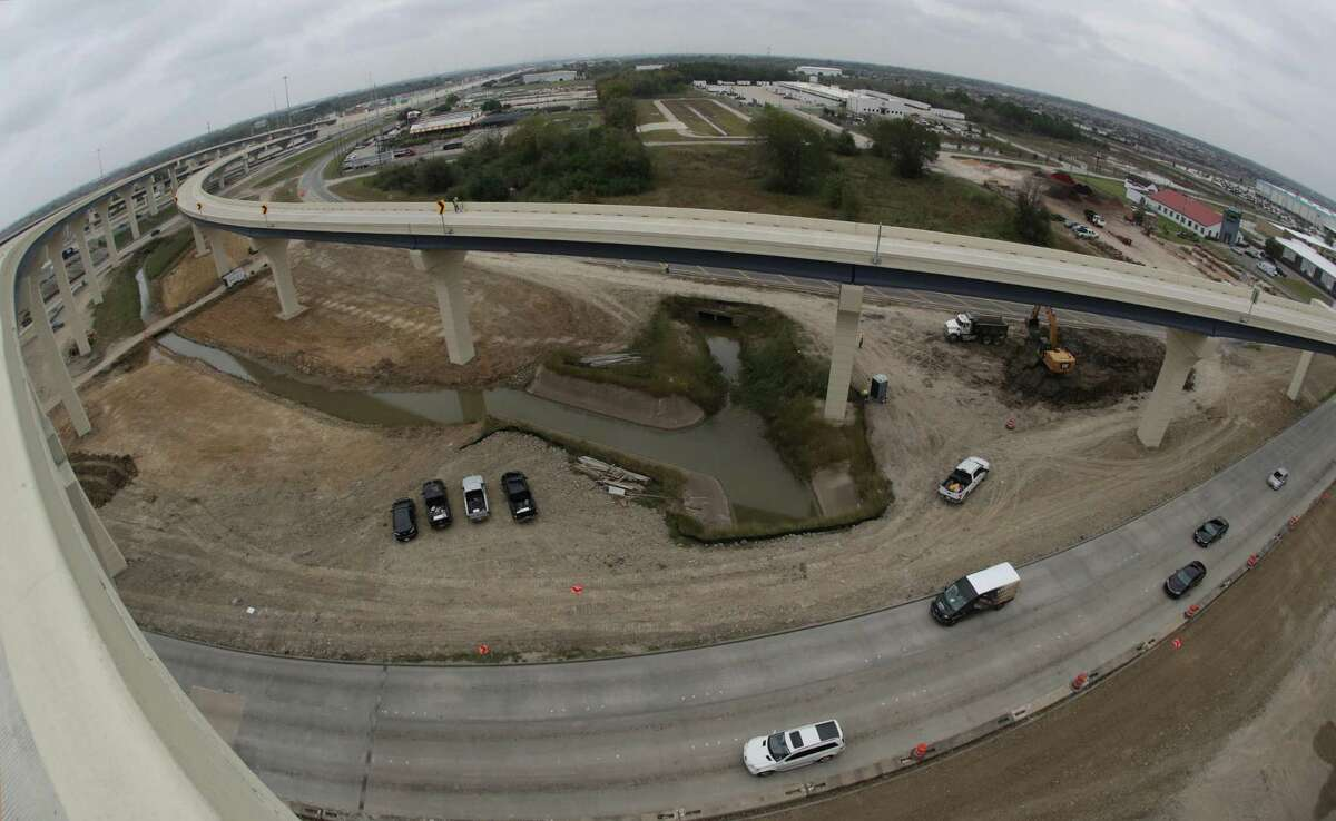 A view looking north from the ramp from the new southbound Texas 288 toll lanes to the eastbound Sam Houston Tollway, seen Nov. 13 in Houston.