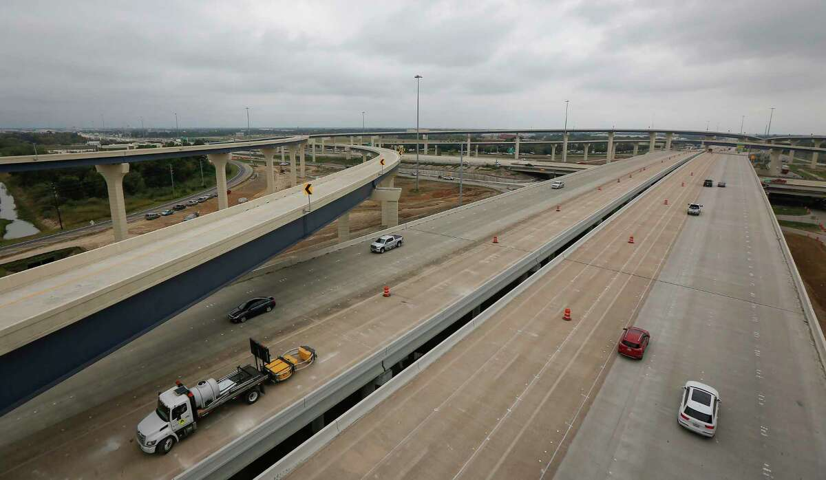 A view looking west from the ramp from the new southbound Texas 288 toll lanes to the eastbound Sam Houston Tollway, seen Nov. 13 in Houston.