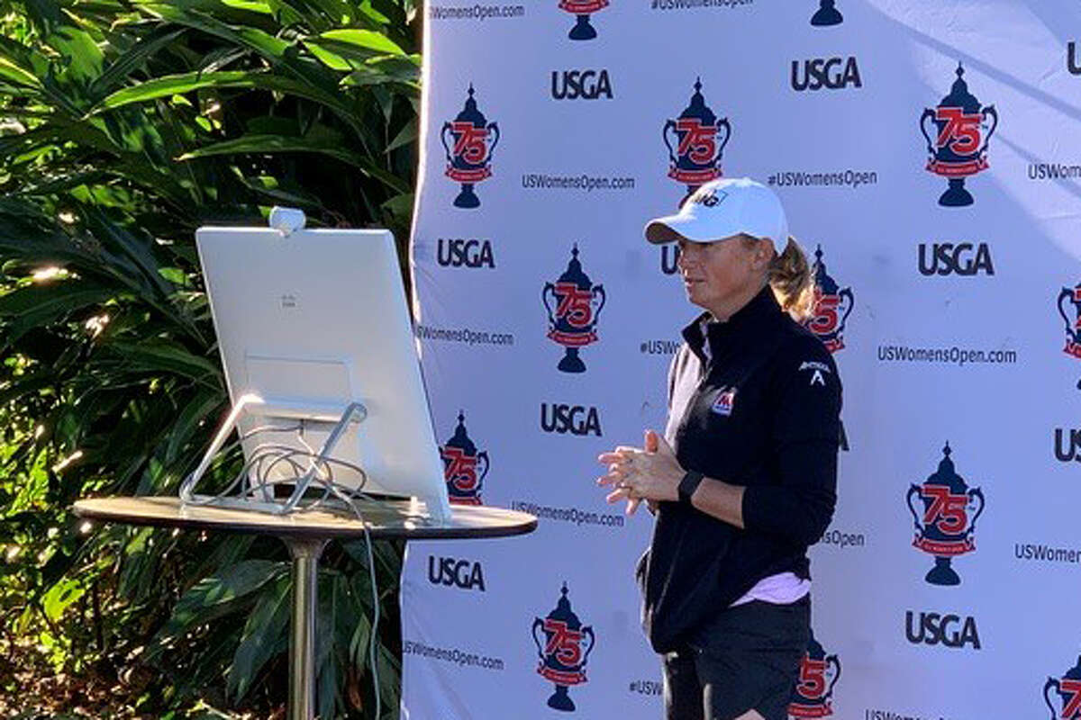 Stacey Lewis speaks at a virtual media day for the U.S. Women's Open, which is scheduled for Dec. 10-13 at Champions Golf Club.