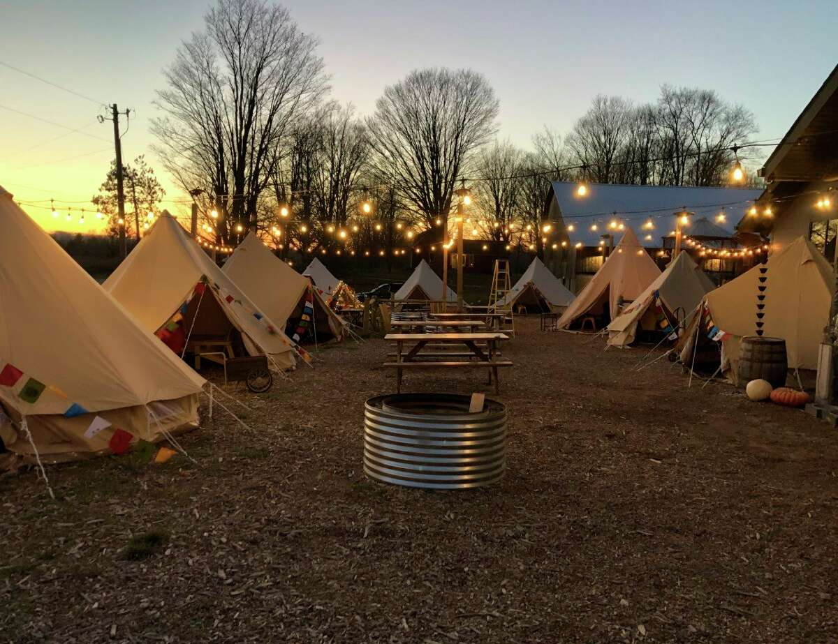 Iron Fish Distilary has created Base Camp Iron Fish, a series of heated tents customers can use for up to 90 minutes to help keep social distance. (Photo/Colin Merry)