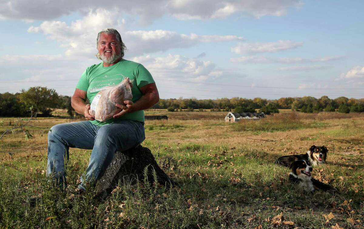 Michael Marchand, who co-owns Whitehurst Heritage Farms with his wife, poses for a portrait with a frozen turkey at the farm in Brenham.