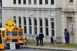 Students are let out for the day at Eagle Point Elementary School on Friday, Nov. 13, 2020 in Albany, N.Y. Capital Region schools are preparing for a potential stay at home order. (Lori Van Buren/Times Union)